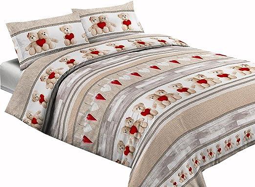 Completo sábanas 100% algodón 1 plaza individual osos trébol: Amazon.es: Hogar