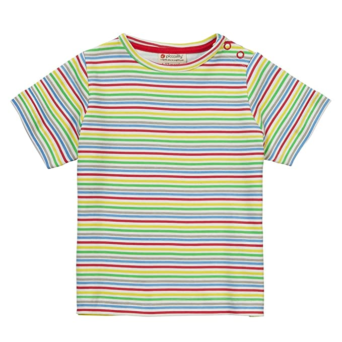 Piccalilly, Camiseta, Jersey de algodón orgánico, Unisex, Rayas de Arco Iris