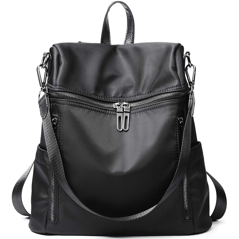 Backpack for Women Purse Nylon Rucksack Lightweight Casual Backpacks Waterproof Daypack Shoulder Bags (Black)