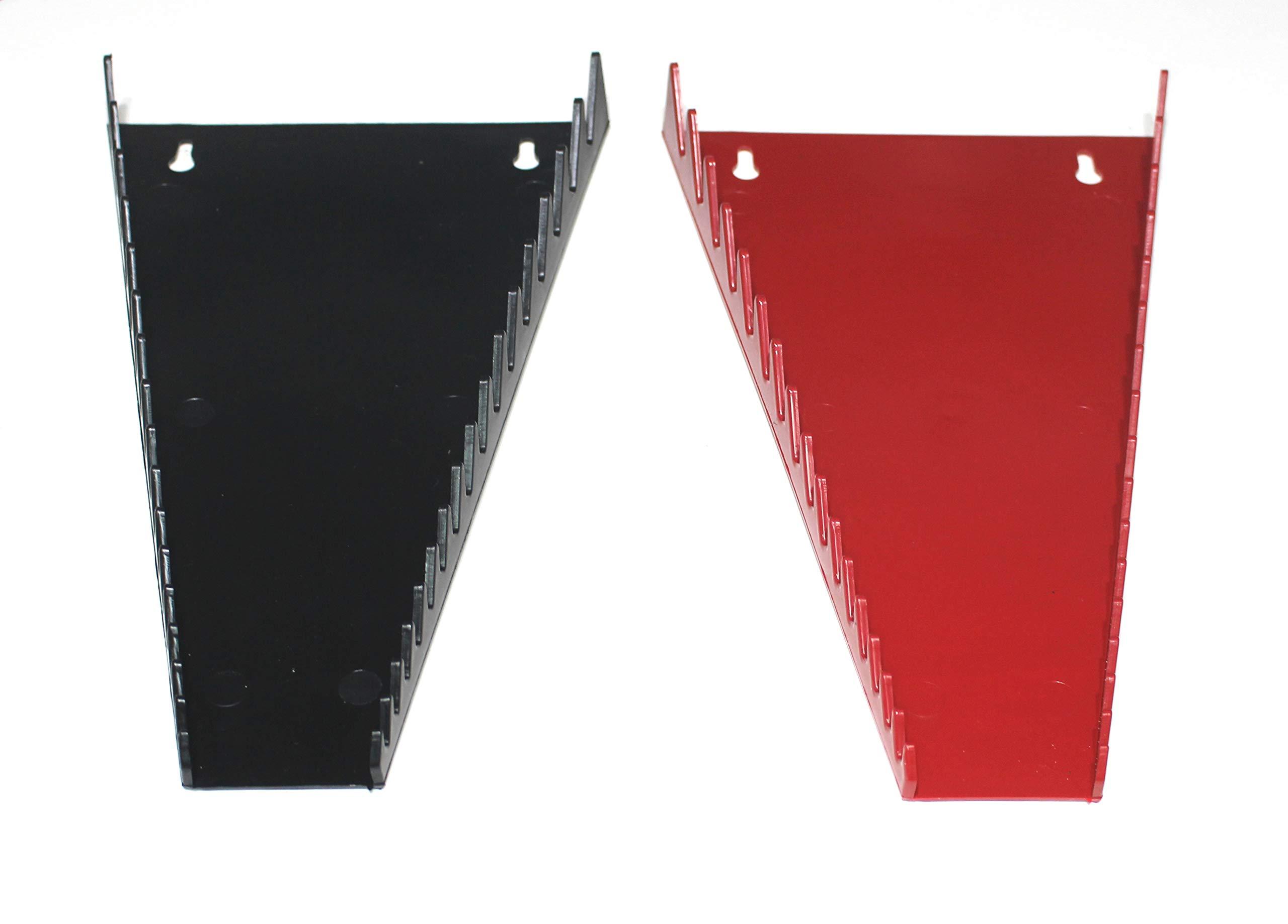 JSP Manufacturing Red & Black 16 Tool Standard Wrench Holder Wrench Organizer 2 Pack | Storage Rack Tray Tool Holder by JSP Manufacturing