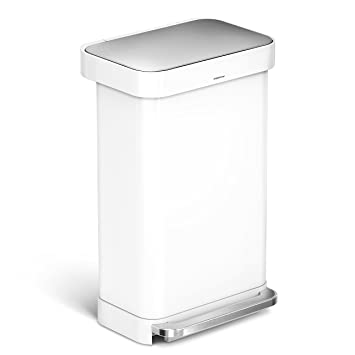 simplehuman Liner Rim Rectangular Step Trash Can with Liner Pocket  White  Steel  45 Liter. Amazon com  simplehuman Liner Rim Rectangular Step Trash Can with