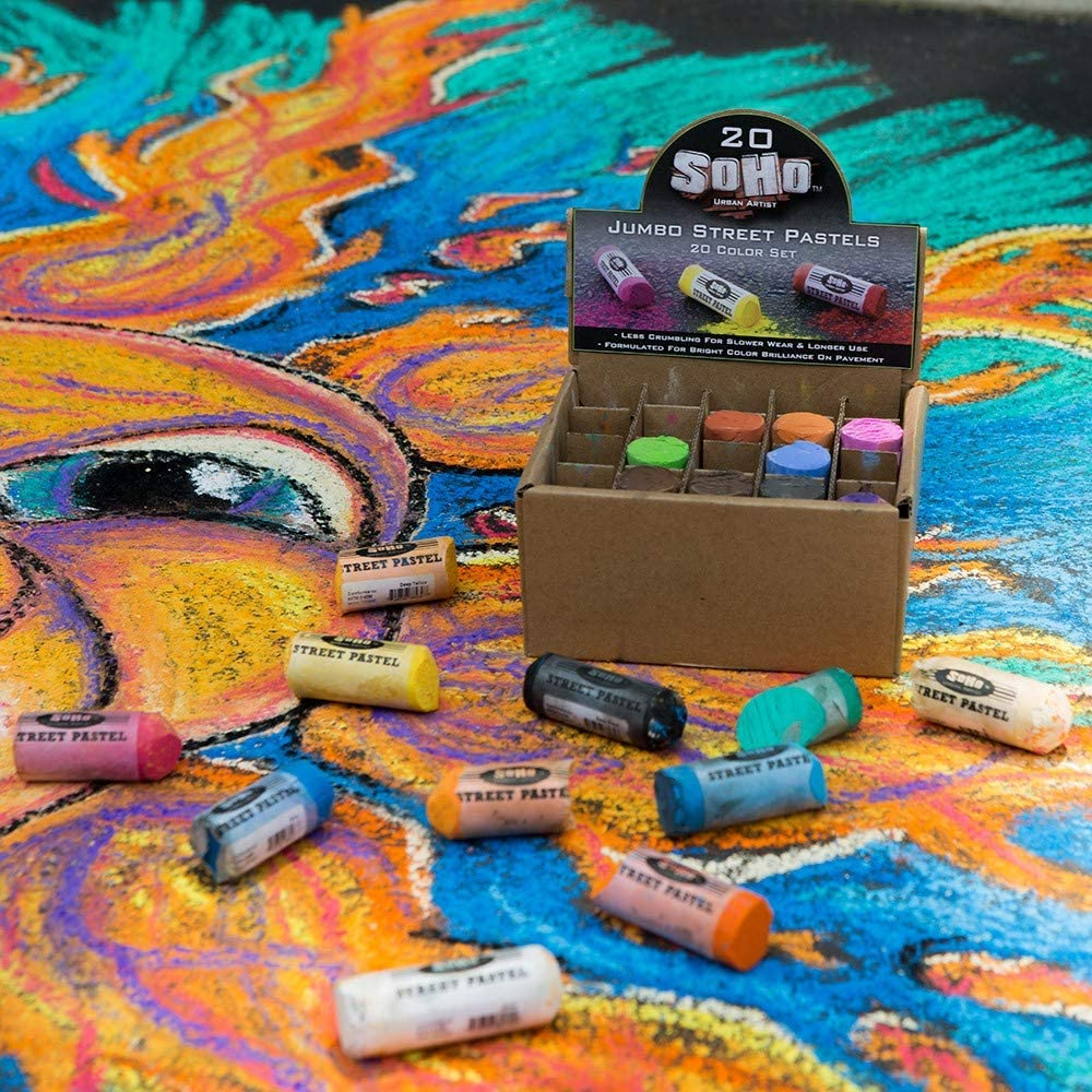 for Pavement Soft Concrete Soho Urban Artist Jumbo Artist Street Pastel Sidewalk Chalk Set Bright and Durable Set of 20 Assorted Colors 6 Pack Sidewalks or Brick with Rich Pigments Smooth