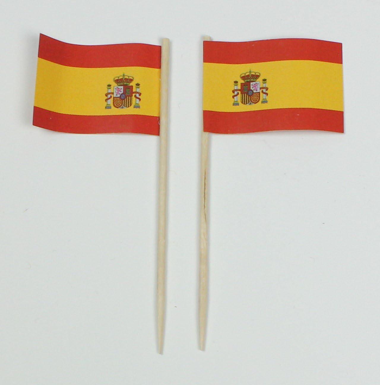 Party-Picker banderitas de papel bandera de España profesional 50 pcs 8 cm offset de producción propia selección enorme presión: Amazon.es: Juguetes y juegos