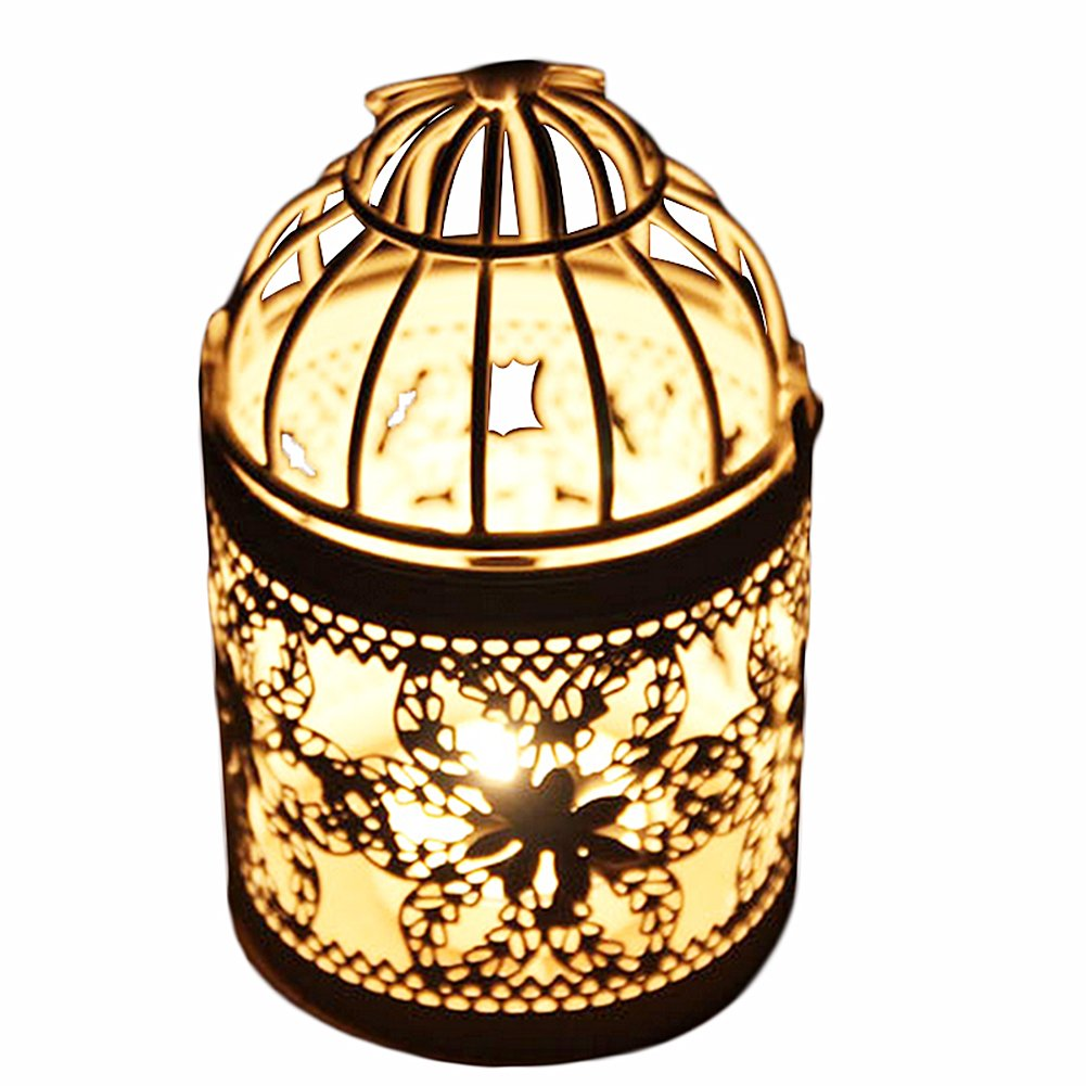 6portacandela Fablcrew foglie fiori Hollow metal birdcage-shape Lanterns