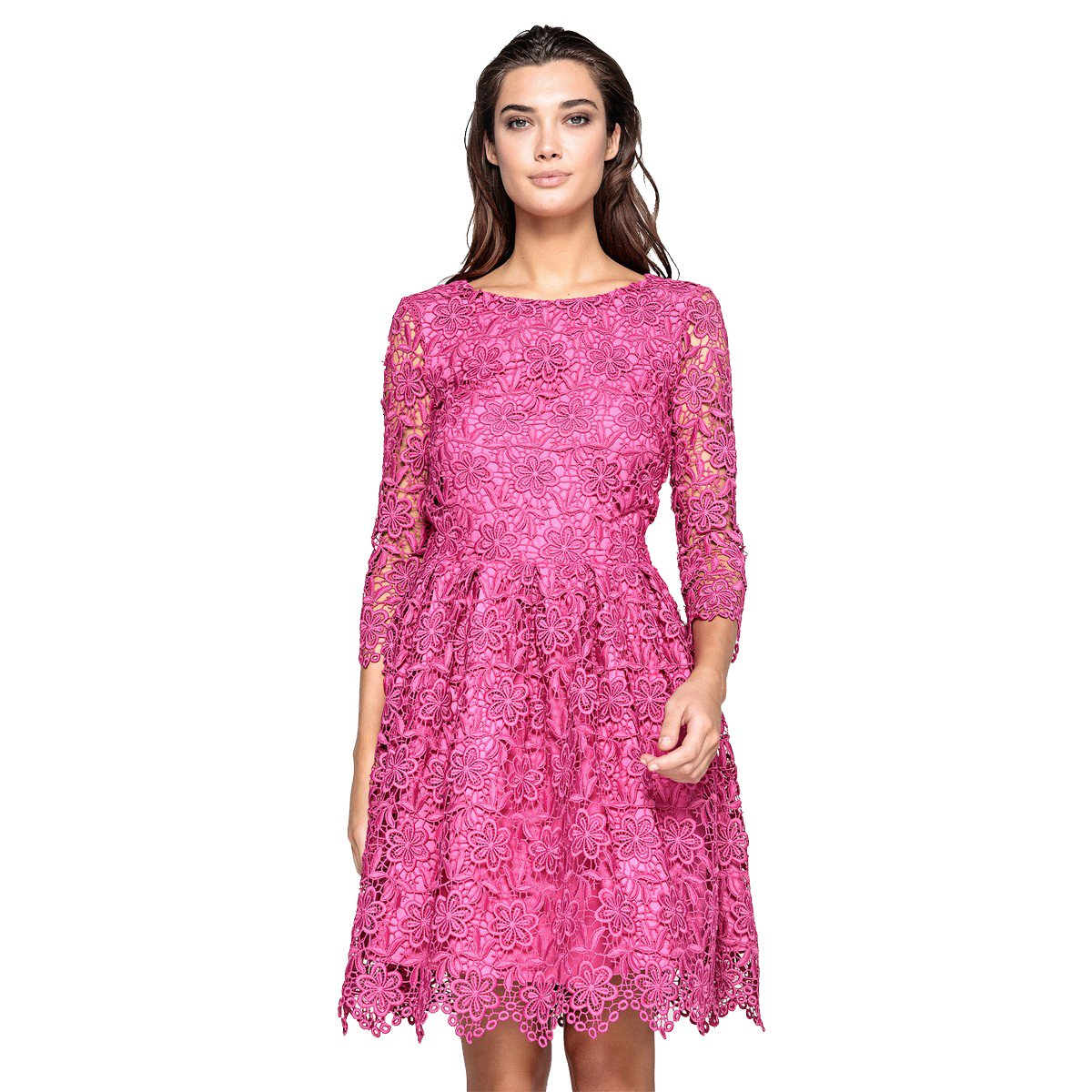 c5bdd2739a4e La Redoute Womens Guipure Lace Skater Dress Pink Size US 8 - FR 38 at  Amazon Women s Clothing store