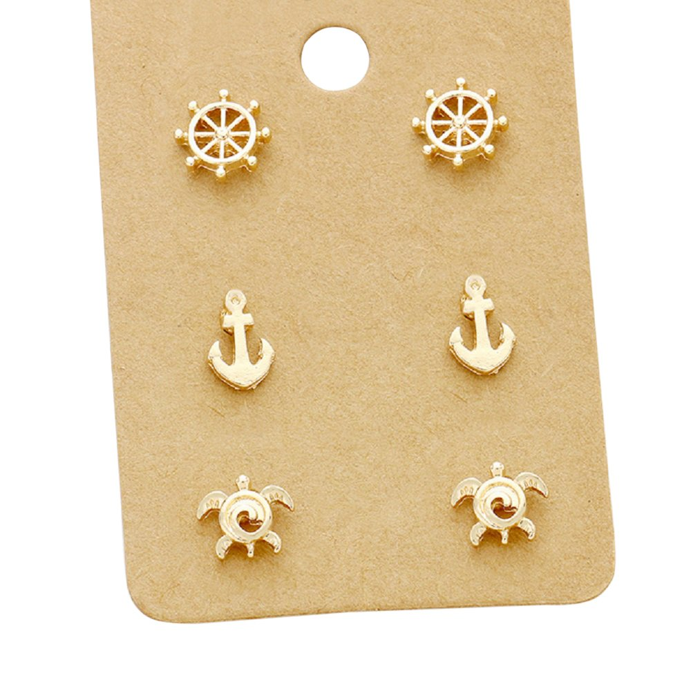 Rosemarie Collections Women's 3 Pairs Nautical Stud Earrings Sea Turtle Anchor Helm (Gold Tone)