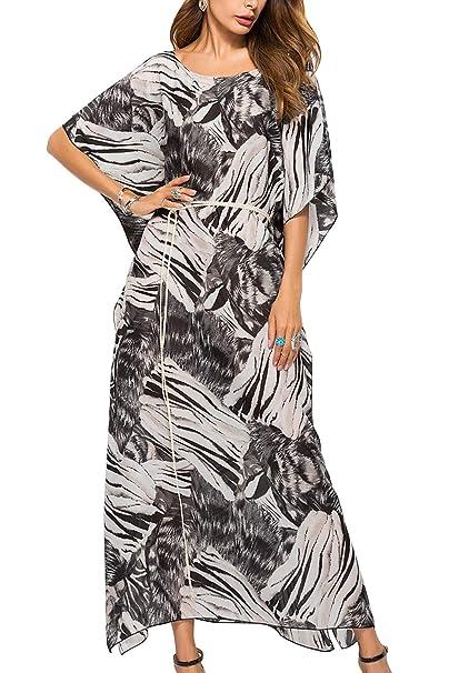 826efc4beb61 Donne Sono Vestito Leopardato Chiffon Beach Vestiti Extralarge con Cintura  Black One Size  Amazon.it  Abbigliamento