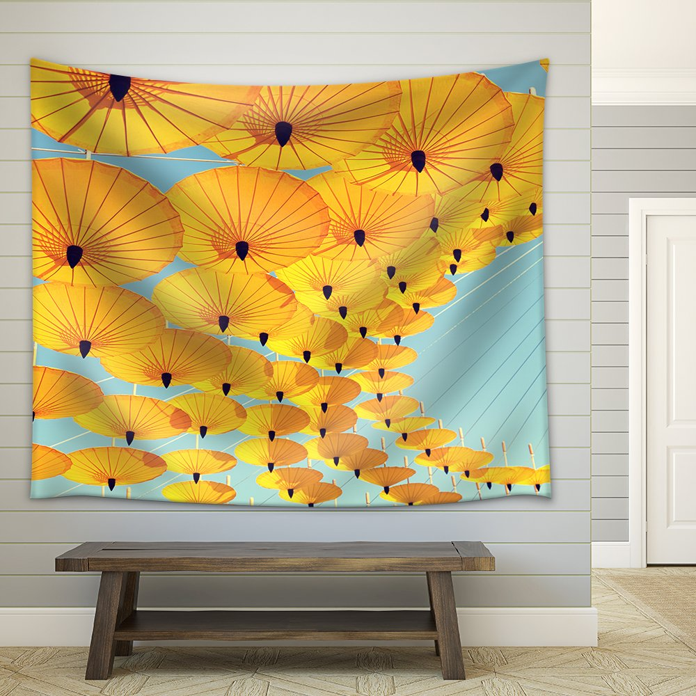 by Colorful Umbrella with Sky Background Fabric Wall Tapestry ...