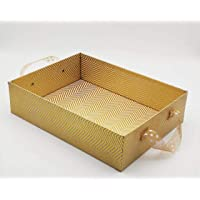 Satyam Kraft 1 Pcs Square Shape MDF Tray with Ribbon Handle Postcard Home Organiser Gift, Christmas Gift, Valentine Gift