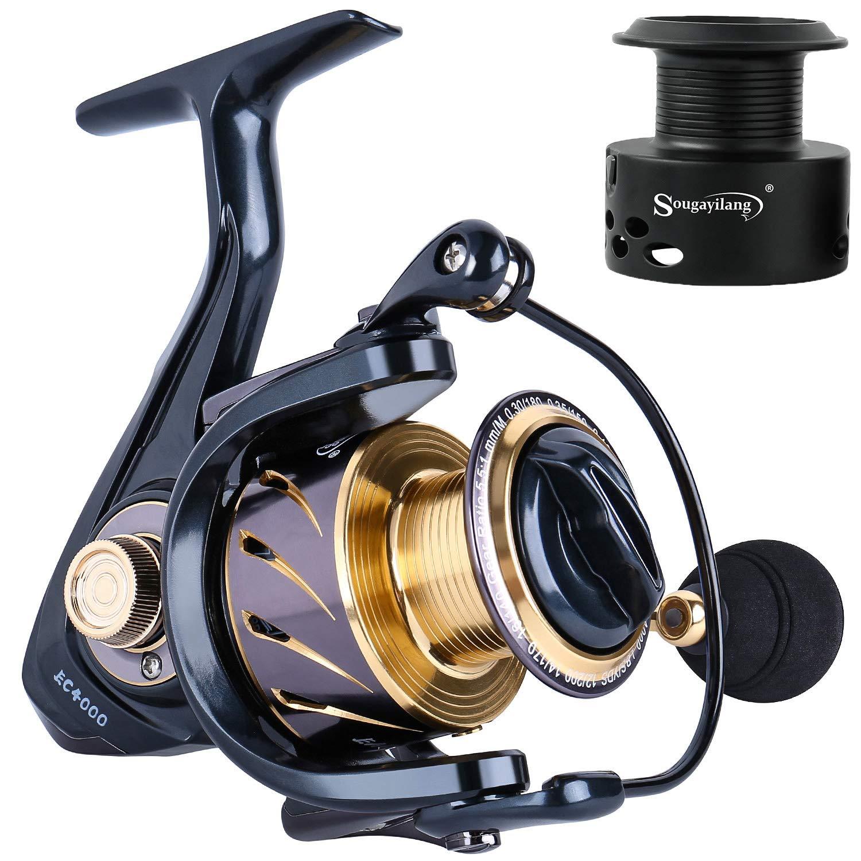 Sougayilang Spinning Reels Fishing Reel 13 1 MaxiDur Corrosion Resistant Ball Bearings, X-Ship Gearing, Silent Drive, SVS Braking System Free Spare Graphite Spool Anglers