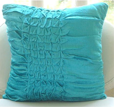 cotton house warming canvas Pillow case 18x18 turquoise,velveteen home decor,pillow covers,Ocean dreams design 21aAcylic paint print