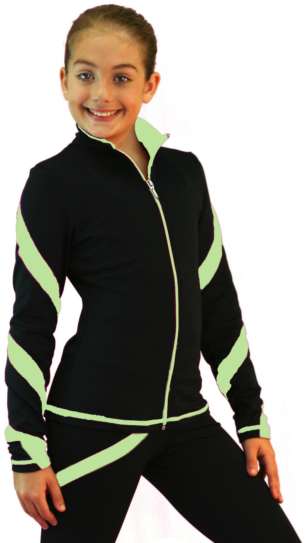 ChloeNoel J36 - Spiral Figure Skating Jacket Light Green Adult Medium by ChloeNoel
