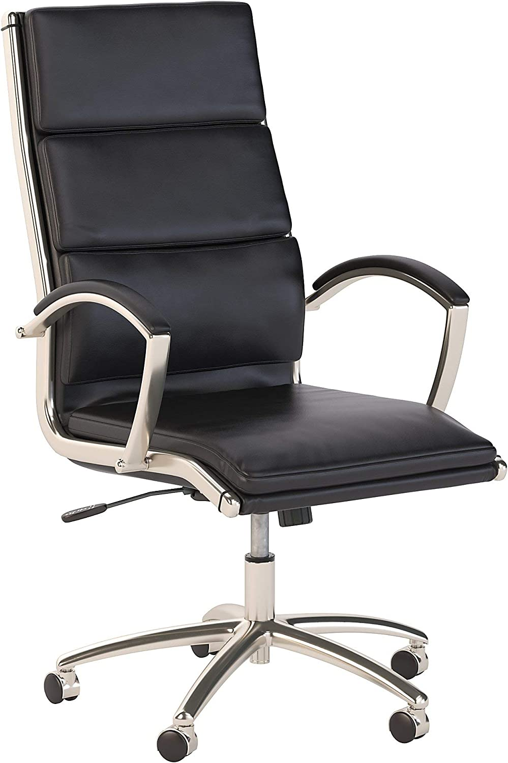 Bush Business Furniture Modelo High Back Leather Executive Office Chair in Black, Black Leather