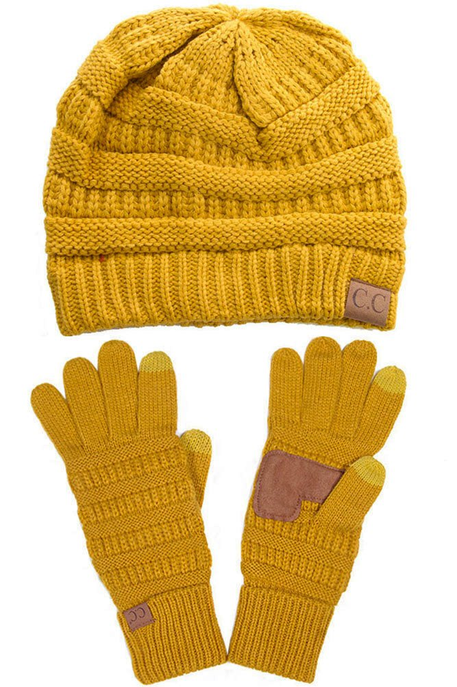 ScarvesMe C.C Trendy Warm Chunky Soft Stretch Cable Knit Beanie and Gloves Set (Mustard)