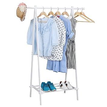 Kleiderständer Weiß Metall songmics kleiderständer kleiderstange metall garderobenständer