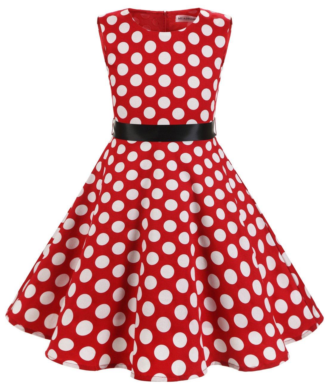 MUADRESS Girls Sleeveless O-Neck Audrey 1950s Vintage Swing Princess Easter Party Dress RedBigWhiteDot XL
