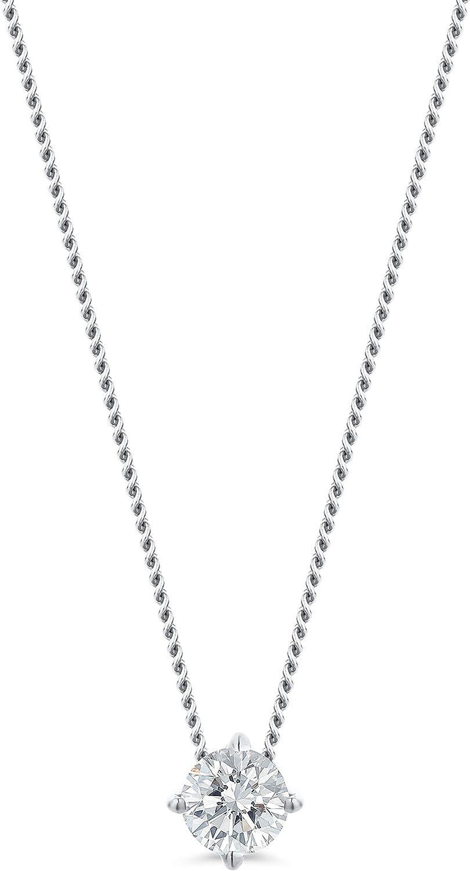 Orovi - Collar de mujer de oro blanco de 0,10 quilates con colgante de diamante solitario brillante de 14 quilates (585), 45 cm de largo, hecho a mano en Italia