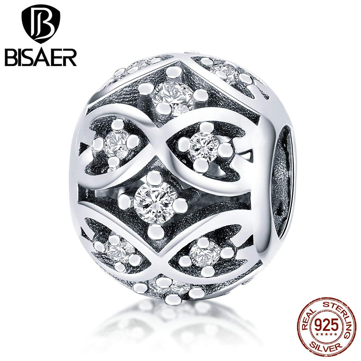 Calvas Crystal CZ 925 Sterling Silver Forever Heart Pave Charms Beads Fit Charm Bracelets for Women Beads Silver 925 Jewelry ECC732