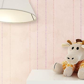 Kindertapete Streifen Rosa Beige Braun Lila Süße Punkte , Tapete Für  Babyzimmer Oder Kinderzimmer , Inklusive