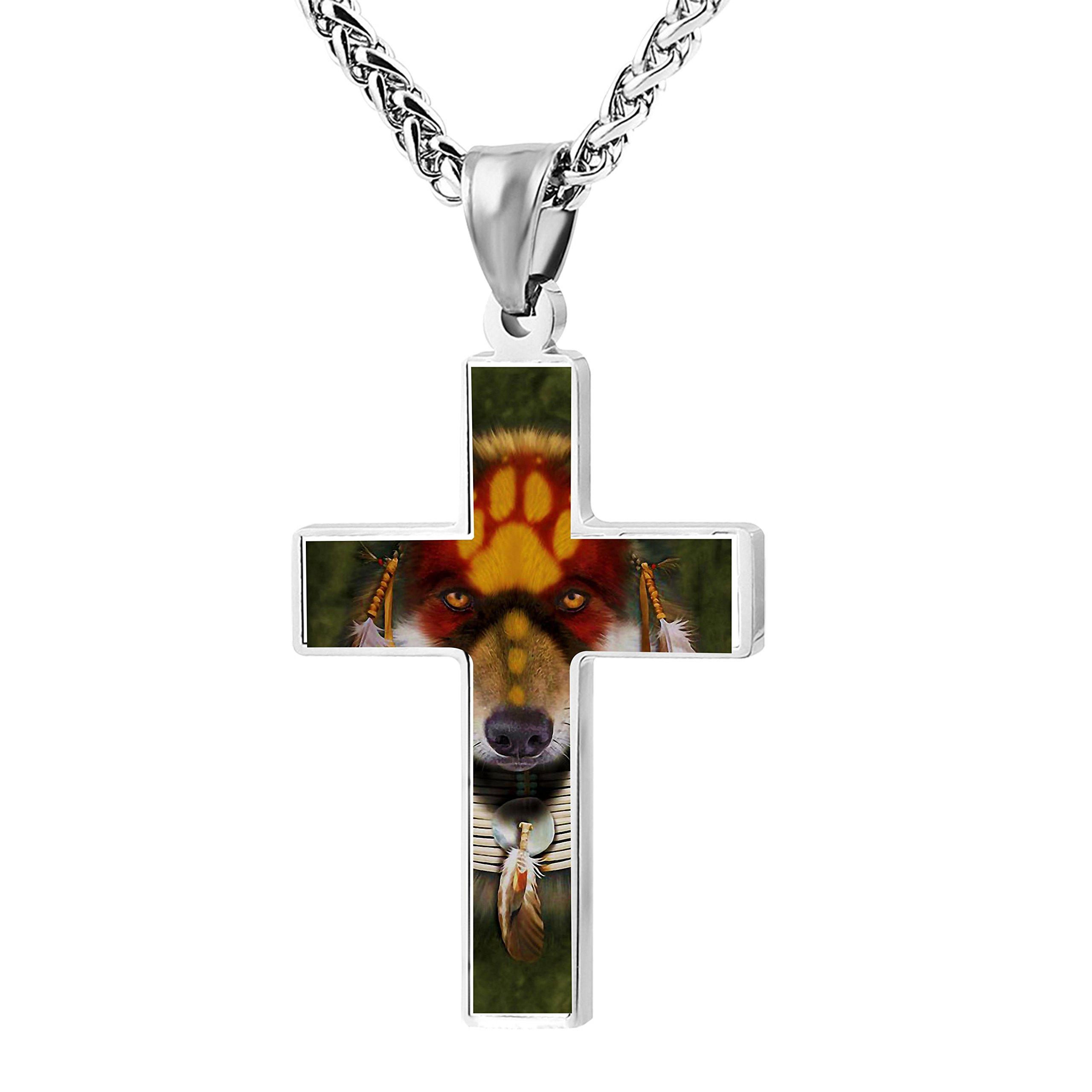 Patriotic Cross Native Wolf Religious Lord's Prayer Jewelry Pendant Necklace