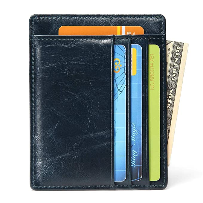 Soft Real Premium Leather Wallets Credit Card Holder ID Business Case Purse Unisex Men Women Green