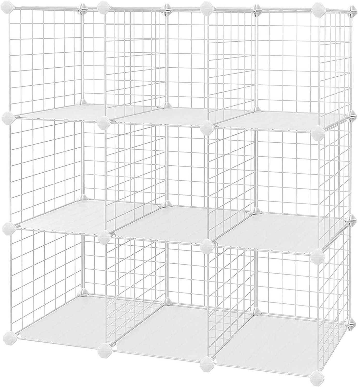 SONGMICS Armario Modular de Malla de Hierro Armario de Almacenaje con 9 Cubos Estantería Modulable Ajustable Organizador Multiuso para Libros Ropa Zapatos para Baño Habitación Infantil Sala LPI115W