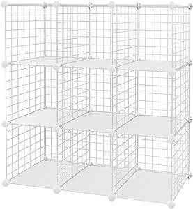 SONGMICS Armario Modular de Malla de Hierro Armario de Almacenaje con 6 Cubos Estanter/ía Modulable Organizador Multiuso para Libros Ropa Zapatos para Ba/ño Habitaci/ón Infantil Sala LPI111W