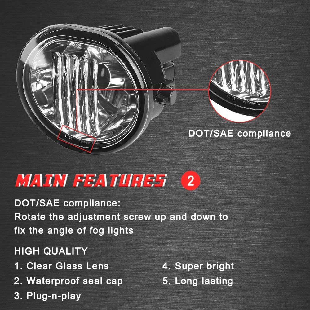 2003-2008 Pontiac Vibe Clear Lens 2004-2010 Scion TC with 9006 12V 51W Halogen Bulbs Driving Fog Lights Lamps Replacement for 2003-2008 Toyota Matrix