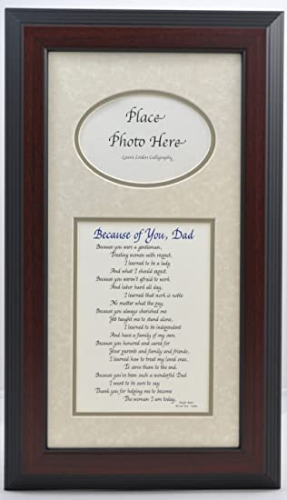because of you dad picture frame choose your frame and mat color special gift