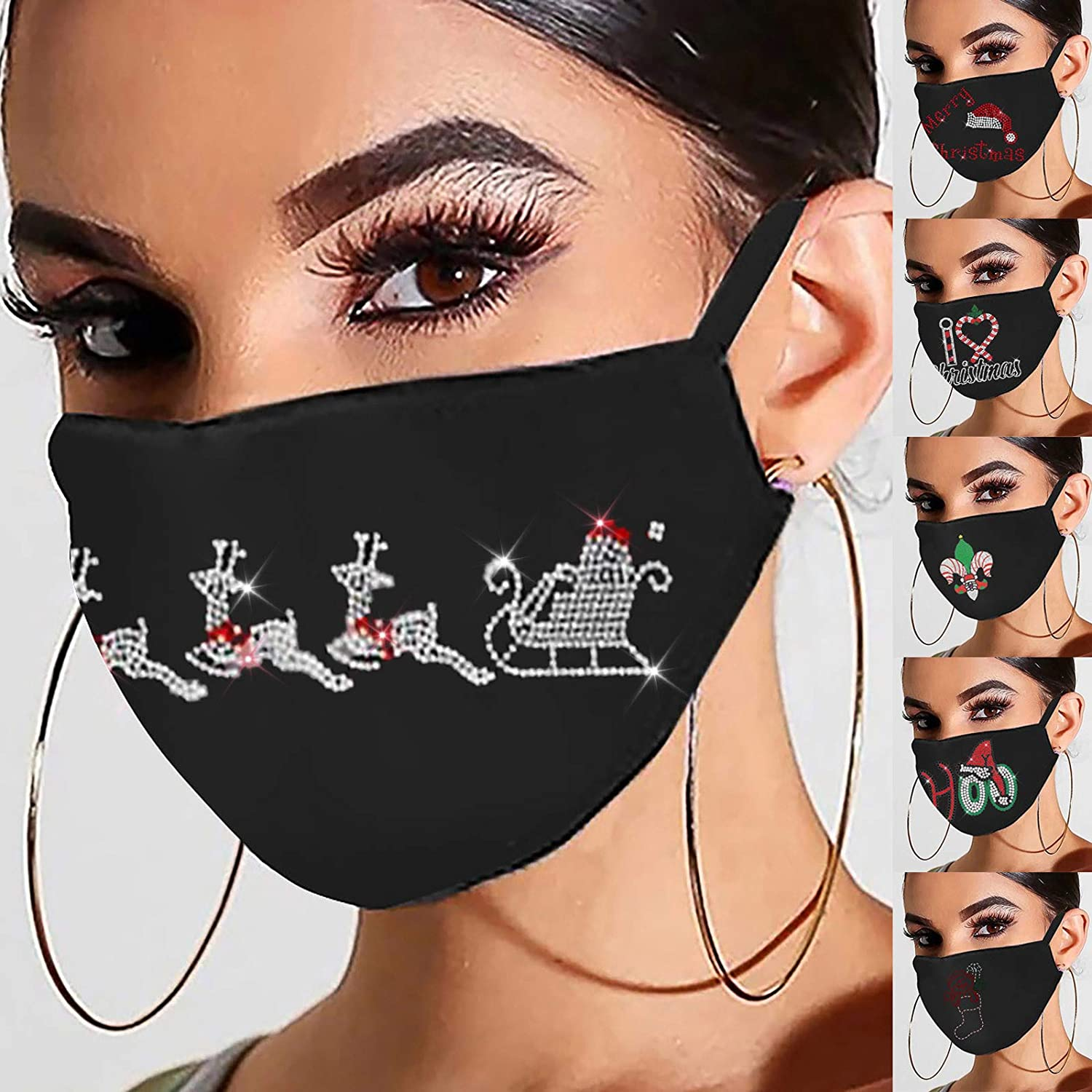 A 1PC Christmas Rhinestone Printed Womens Face Protection Snowman Xmas Gift Printed Soft Cotton Cute Washable