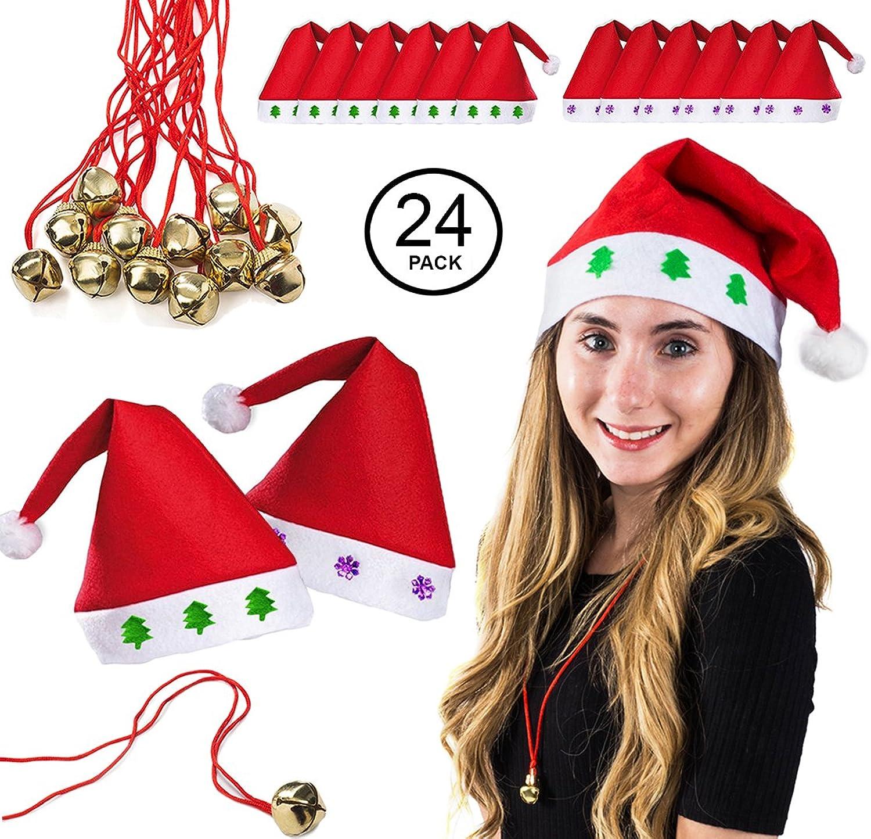 48d23cb67b141 Amazon.com  Tigerdoe Santa Hats Bulk - Dozen Santa Hats - Dozen Jingle Bell  Necklaces - Christmas Hats (24 Pc)  Clothing