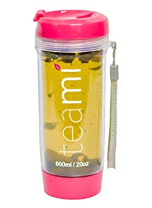 FRUIT INFUSER Water Bottle Tumbler with a Lid | 100% BPA FREE | Our Best Infusion Bottles for Infused Fruit, Smoothies, Tea, and Coffee | Double Walled Mug, Hot & Cold (20 Ounces, Pink)