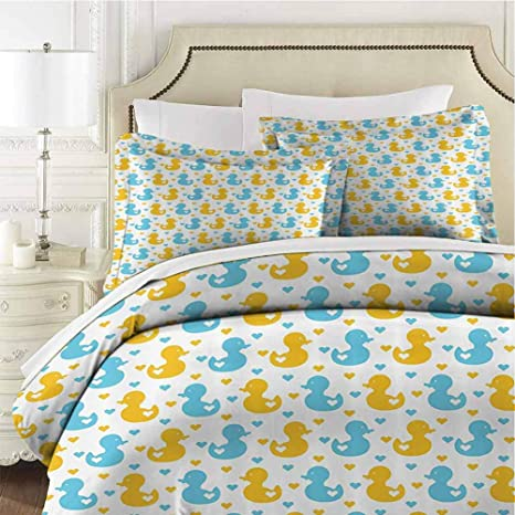 Rubber Duck Bedding 3 Piece Queen Bed Sheets Set Baby Ducklings Pattern With Cute Little Hearts Love Animals Print Nursery Room Bedding Set All Season Quilt Set Soft And Breathable With Zipper