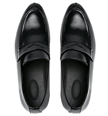 246057a83ad Santimon Men s Penny Loafer Classic Modern Pointed Toe Oxfords Slip On Dress  Shoes Black 5 D