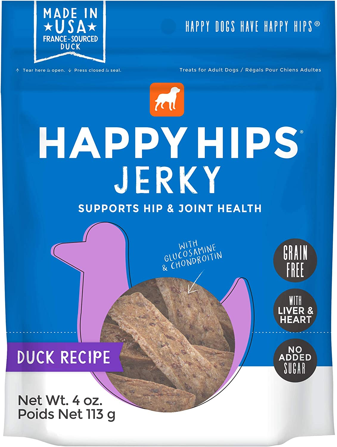 Happy Hips Grain Free Jerky Dog Treats - Made in USA with Glucosamine & Chondroitin to Support Hip & Joint Health - Duck Recipe