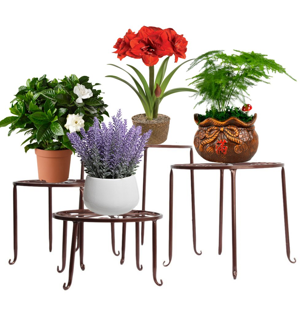 AISHN Metal 4 in 1 Potted Plant Stand Floor Flower Pot Rack/Round Iron Plant Stands, Scroll Pattern (Bronze)