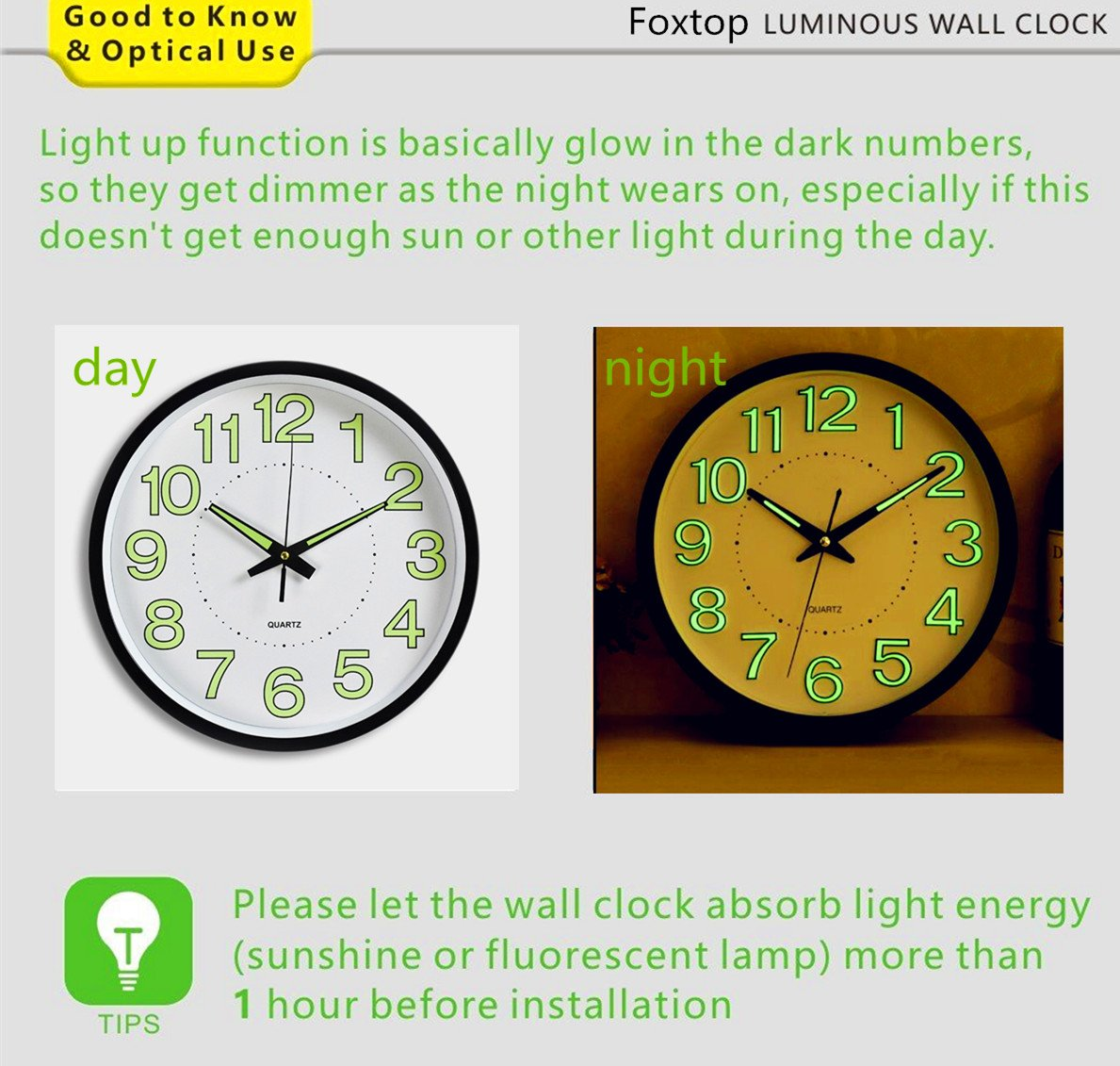 Amazon night light function clock foxtop 12 inch luminous amazon night light function clock foxtop 12 inch luminous wall clock with silent non ticking night lights for indoor kitchen of large number battery amipublicfo Images