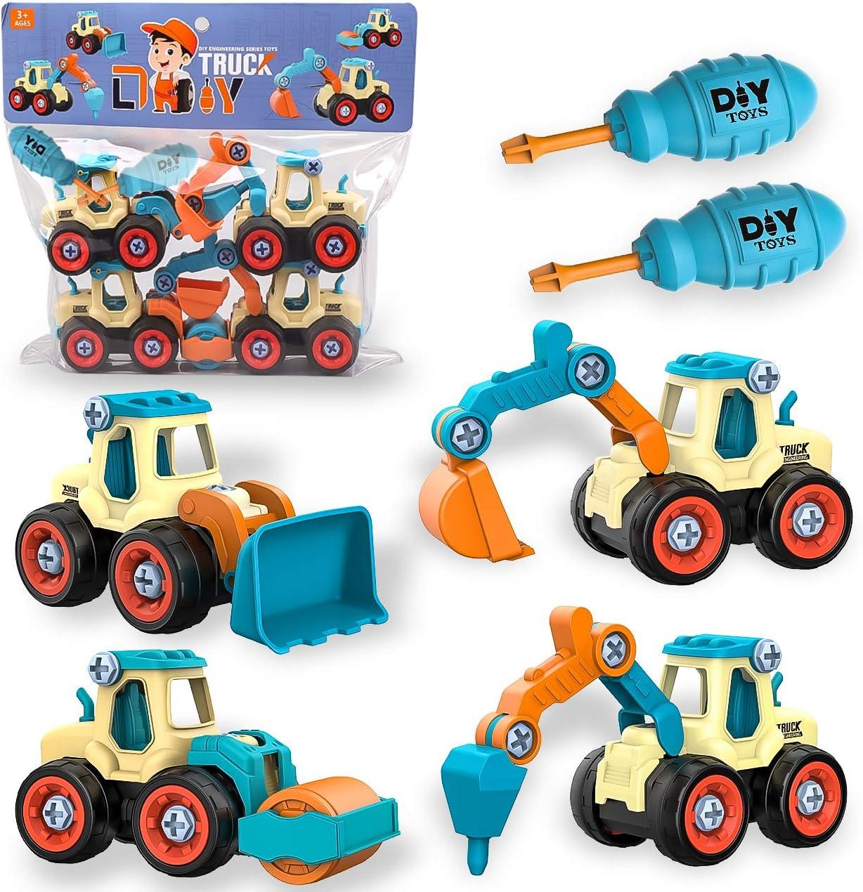 aovowog 4 en 1 Vehículo de Construcciones para Niños,Juguetes Niños 2 3 4 5 Años,Excavadora Juguete Camiones de Juguete,Desmontar y Ensamblarde Herramientas Juguete para Niño y Niña
