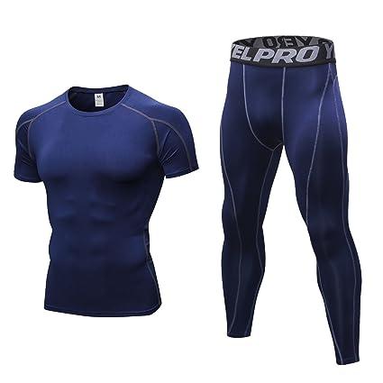 ef14509086285 Niksa 2 Piezas Conjunto de Ropa Deportiva para Hombre Camiseta de Compresión  Manga Corta y Mallas