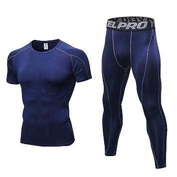 AMZSPORT Camiseta de Compresión para Hombre, Manga Larga, Secado Frío, Capa de Base, Todo el Año, para Correr, Entrenar,…