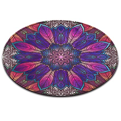 LB Inde Bouddhisme bohème Violet Blanc_Anti-dérapant Lavable en Machine  Espace Rond Tapis Salon Chambre à Coucher Salle de Bain Cuisine Doux Tapis  ...