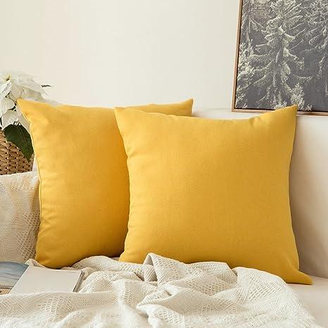 MIULEE Fundas de Cojines Almohada Caso de la Cubierta del Amortiguador Decorativo Lino Duradero Decoración para Sofá Cama Coche Limon Amarillo 18