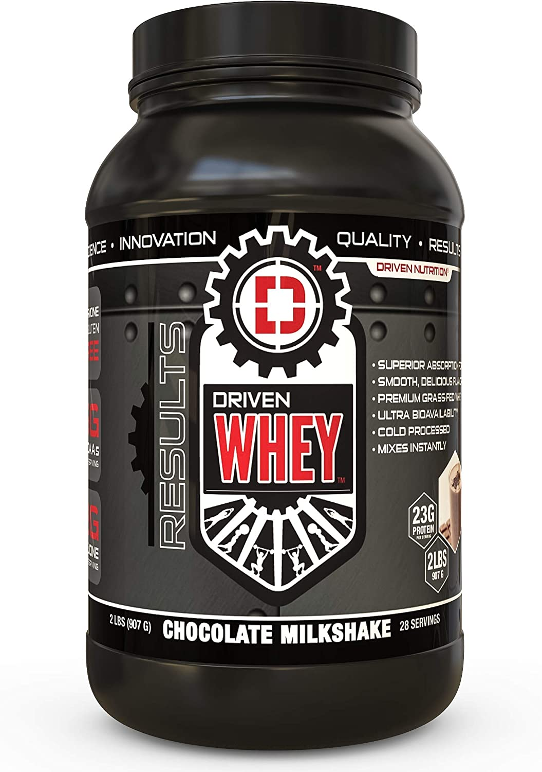 Driven WHEY- Grass Fed Whey Protein Powder Delicious, Clean Protein Shake- Improve Muscle Recovery with 23 Grams of Protein with Added BCAA and Digestive Enzymes Chocolate Milkshake, 2 lb
