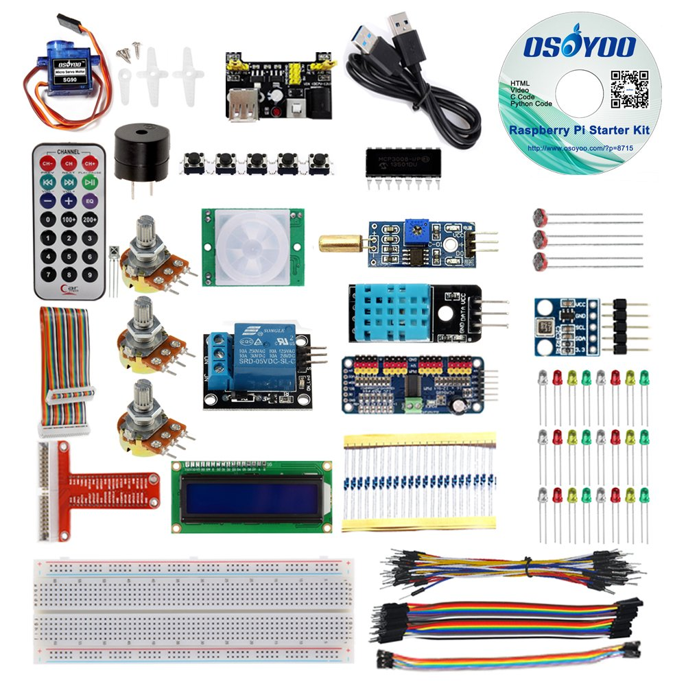 Osoyoo Raspberry Pi 3 Starter Kit Diy Electronic Rpi Learning Wiringpi Hello World For Beginner Display Pca9685 With C Python Code And Video Tutorial