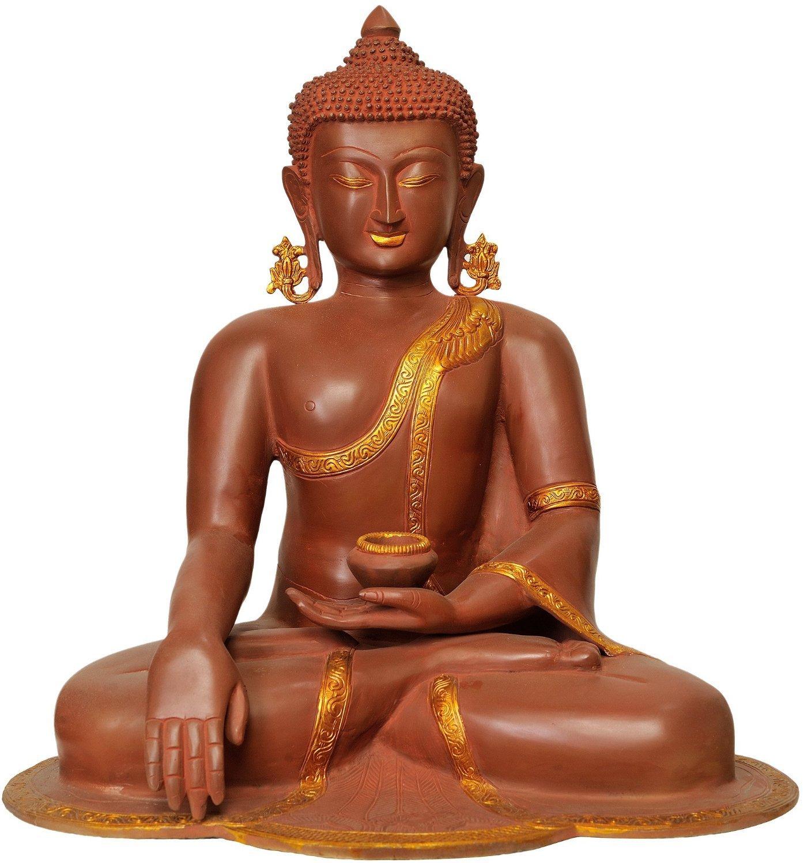 CraftVatika Large Thai Tibetan Brass Buddha Statue-Meditating Peace Harmony Buddhism Statue- Antique Style Big Hand Made Buddha in Earth Touching Mudra by CraftVatika