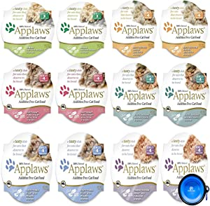 Applaws Cat Food in Broth Pots Variety Bundle Pack - 6 Flavors - 2.12 Ounces Each (12 Total) W/Hotspot Pets Collapsible Bowl