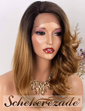 b34747c017988b Amazon.com : Scheherezade Ombre Honey Blonde Lace Front Wig Brown Roots for  Women L Part Synthetic Wig Glueless 4T27 Color Natural Straight Wavy Lace  Front ...