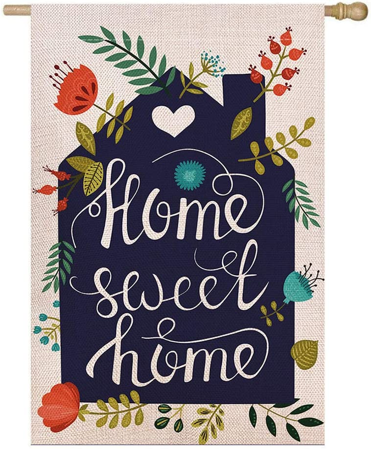 Shmbada Home Sweet Home Burlap House Flag, Double Sided Premium Material, Spring Summer Decor Outdoor Flowers Banner Decorative Large Flags for Yard Lawn Patio Farmhouse, 28 x 40 inch