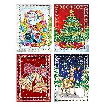 Amazon.com: xieshang - 4 tarjetas de felicitación de Navidad ...