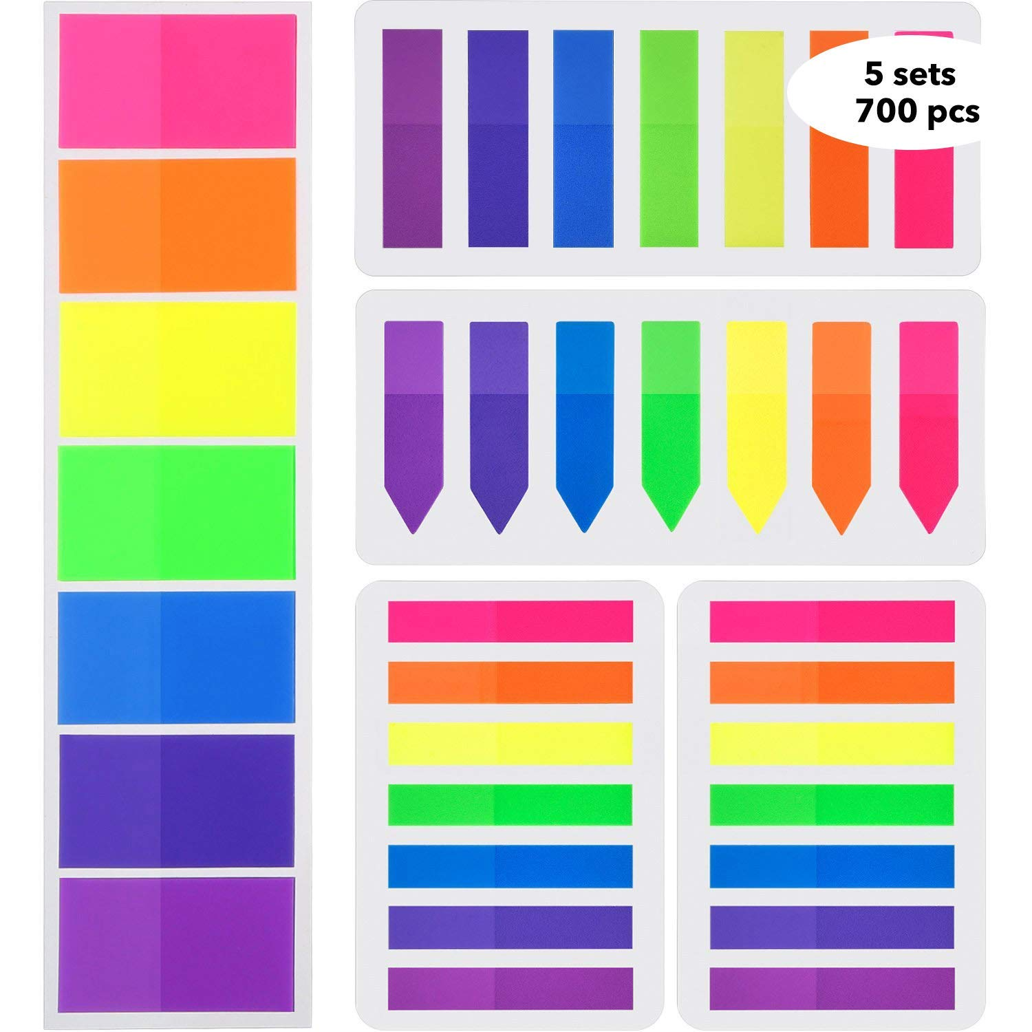 Flags Index Tabs Sticky Page Markers 700 pcs Adhesive Flag Tabs Rainbow Transparent Cute Sticky Notes Writable Labels 7 Colors for Binders, Files, Folders, Documents, Planners by Yollo by YOLLO